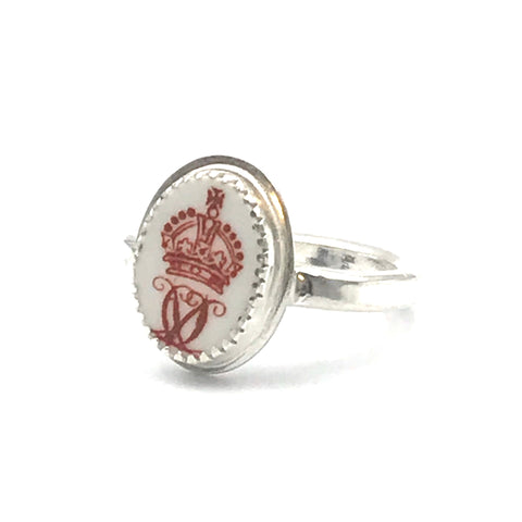 Bone China Ring with Crown Hallmark