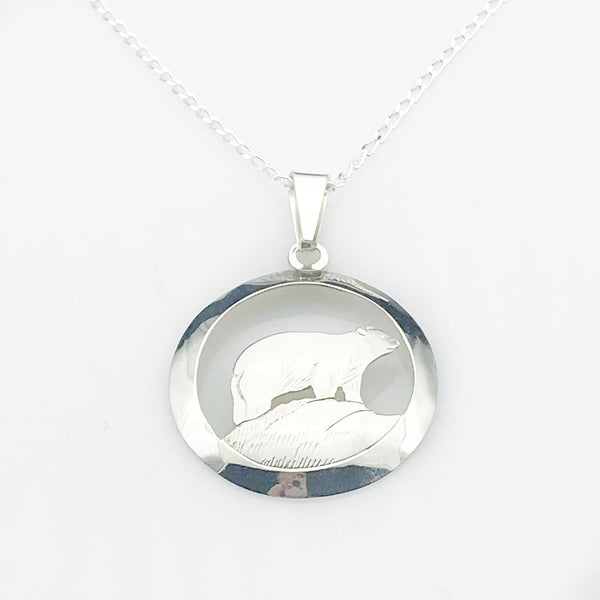 Sterling Silver Spirit Bear in Circle Pendant Necklace