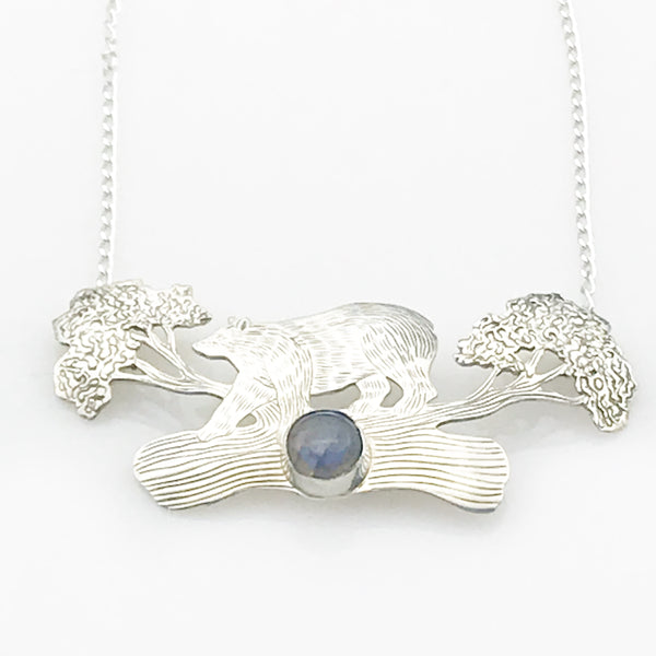 Bear on a Log with Labradorite Necklace