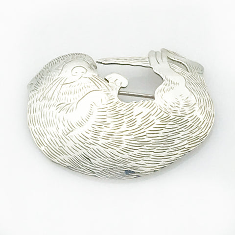 Silver Sea Otter Brooch