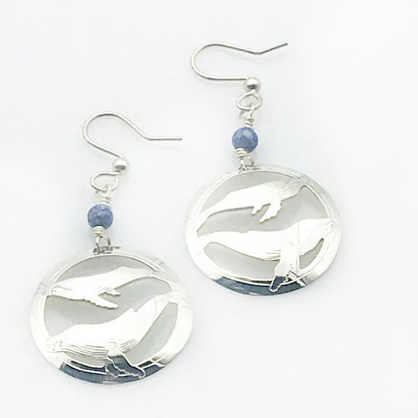 STERLING SILVER HUMPBACK WHALE EARRINGS