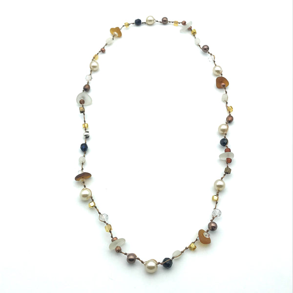 Infinity Beach Glass Necklace, Natural with Brown and Pearl 11 1/2 inches