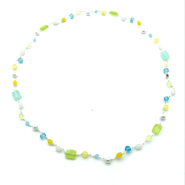 Infinity Beach Glass Necklace, White with White, Yellow and Blue 13 inches