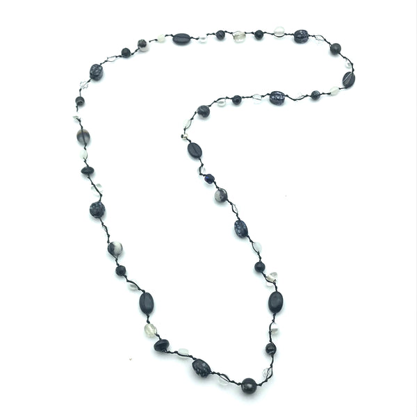Infinity Beach Glass Necklace, Black with Black and White 16 inches
