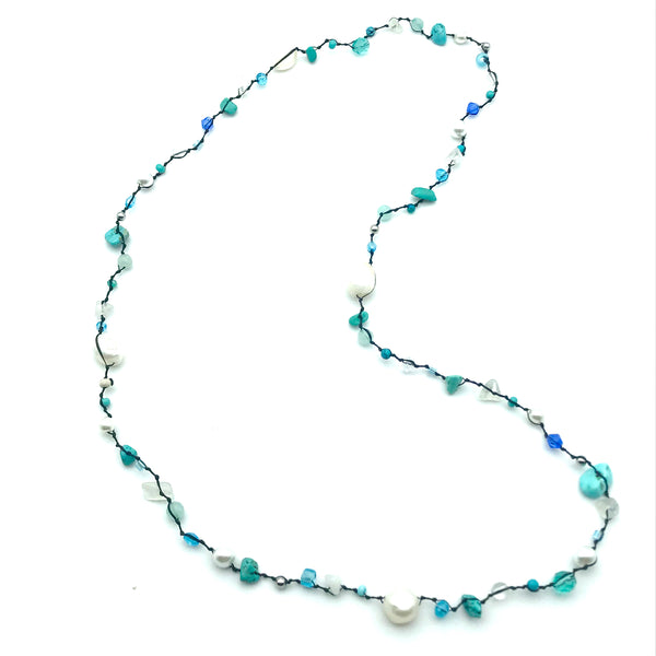 Infinity Beach Glass Necklace, Black with Turquoise and White 18 inches