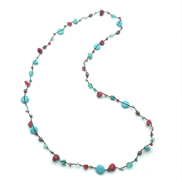 Infinity Beach Glass Necklace, Black with Turquoise and Red 18 inches