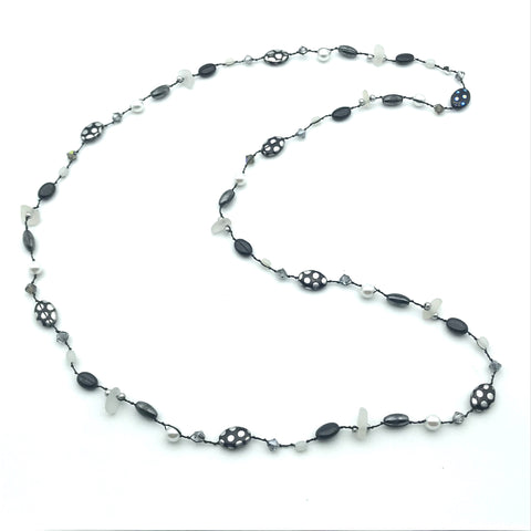 Infinity Beach Glass Necklace, Black with Magnetic Black and White 20 inches