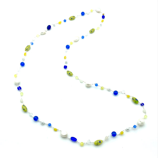 Infinity Beach Glass Necklace, White with Yellow, Blue and Pearls 21 inches
