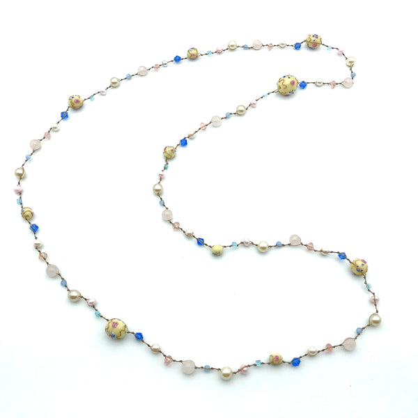 Infinity Beach Glass Necklace, Natural with Floral Bead, Pinks and Blues 22 inches