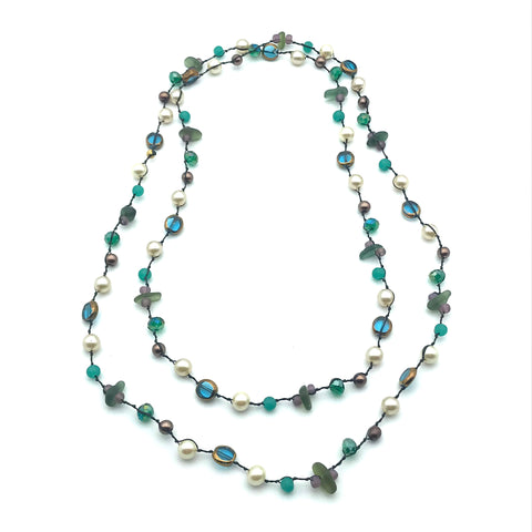 Infinity Beach Glass Necklace, Black with Copper, Blue and Greens 24 inches