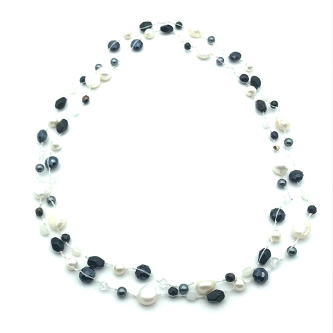 Infinity Beach Glass Necklace, White with Black and White 24 inches