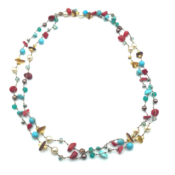 Infinity Beach Glass Necklace, Natural with Turquoise, Red Coral and White 27 inches