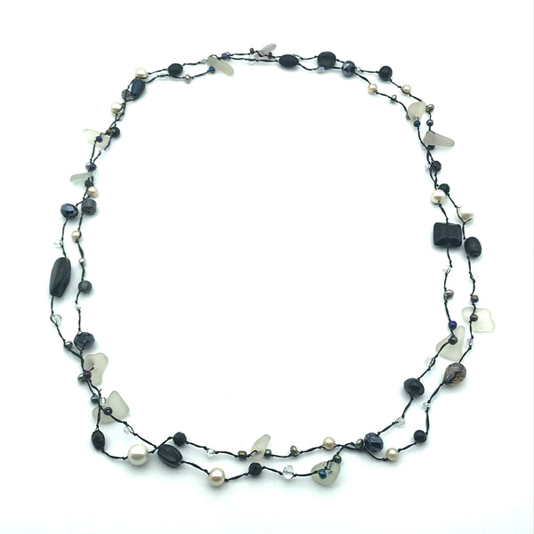 Infinity Beach Glass Necklace, Black with Black, White and Pearls 34 inches