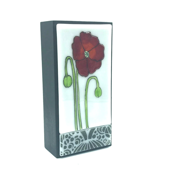 Fused Glass Art with Orange Flower
