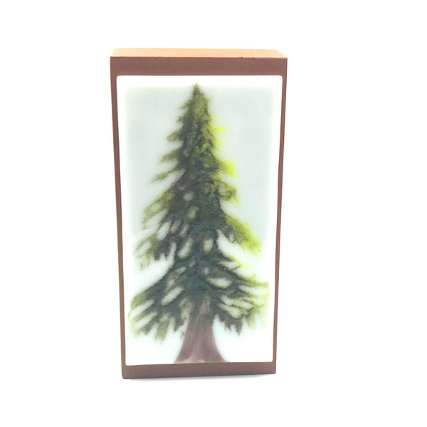 Fused Glass Art with Single Evergreen Tree