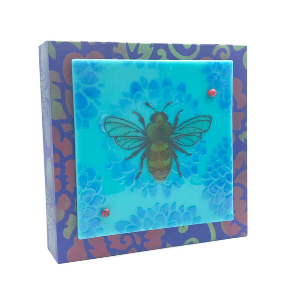 Fused Art Glass with Bumble Bee