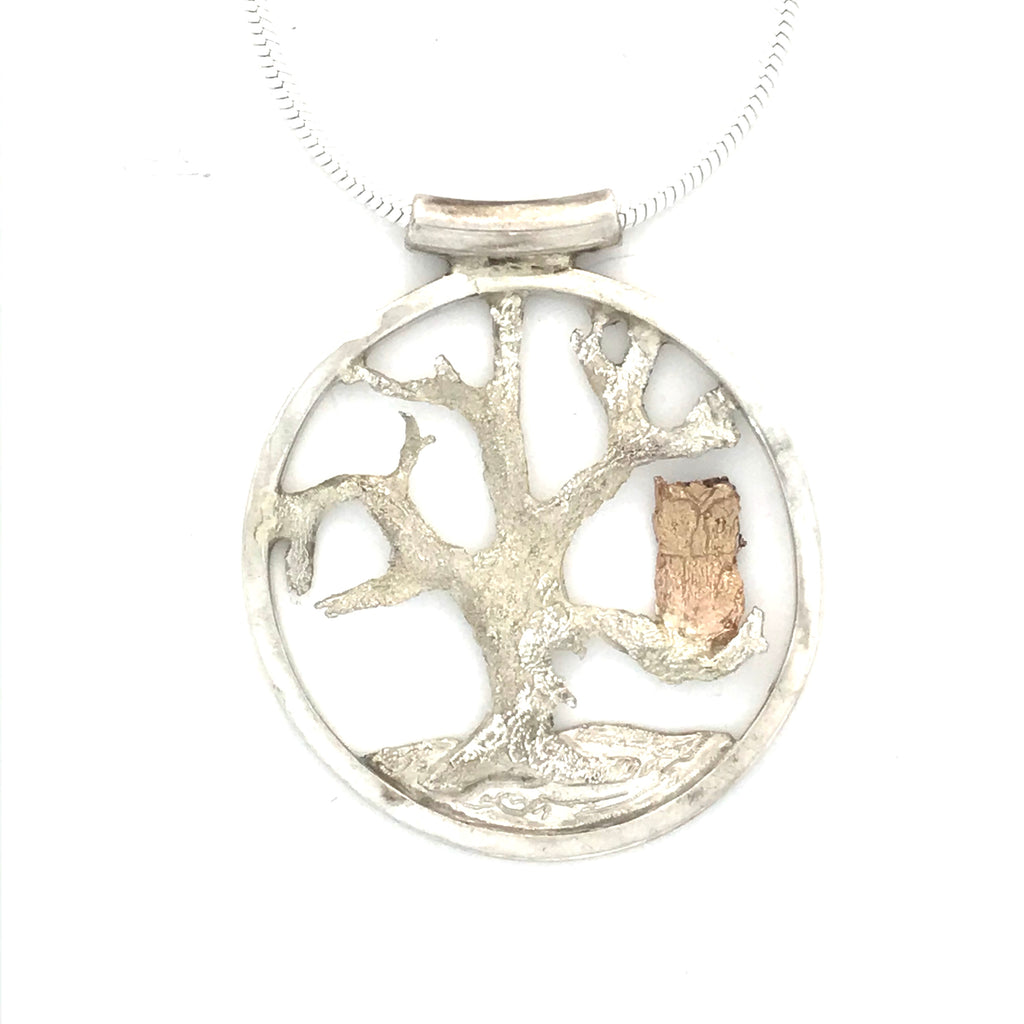 Sterling Silver, Circle Pendant with Gold Owl on Tree Necklace