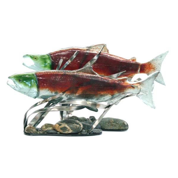 Male and Female Sockeye Salmon Glass Sculpture Pair