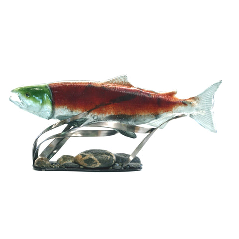 Female Sockeye Salmon Glass Sculpture