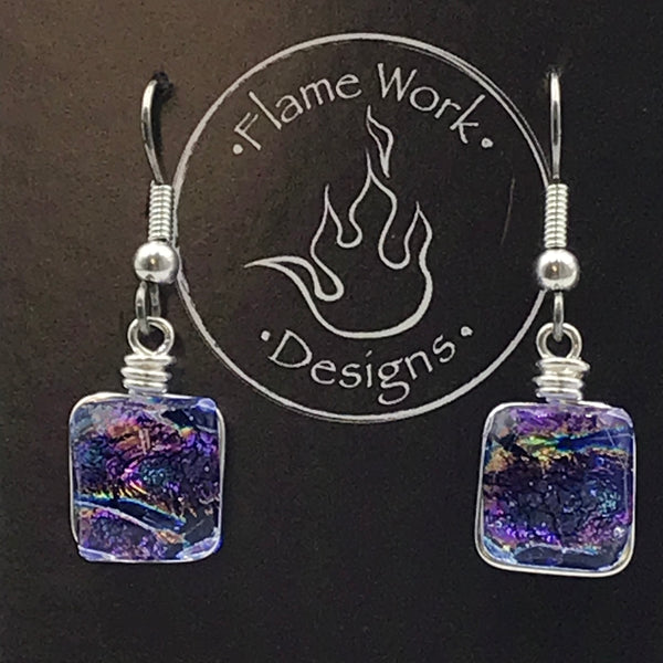 Dichoric Glass Earrings with Purple and Blue Design