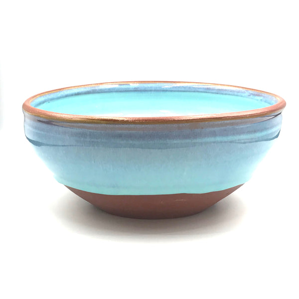 Turquoise over Red Clay Ceramic Bowl, 6 1/2 inches