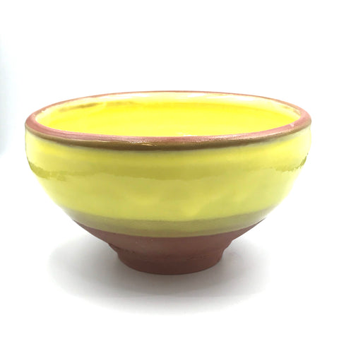Yellow over Red Clay Ceramic Serving Bowl, 6 1/2 inches