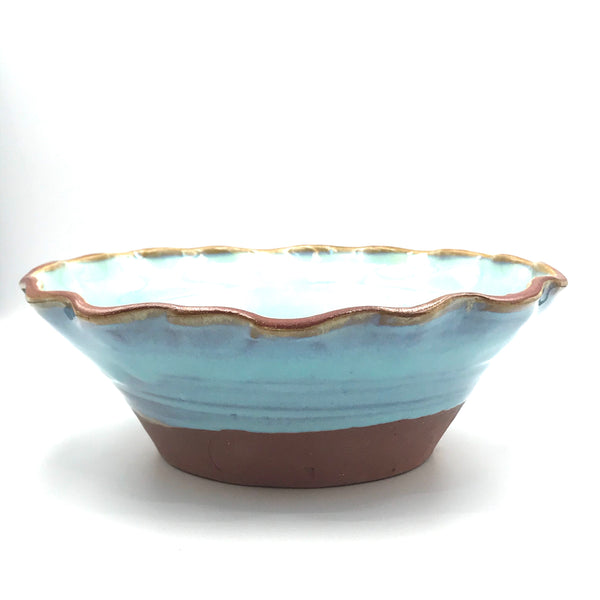 Turquoise Small Serving Bowl with Fluted Rim
