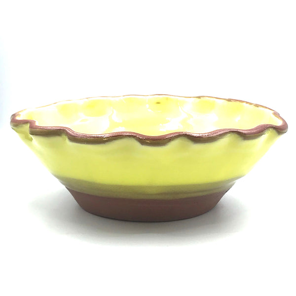 Yellow over Red Clay Ceramic Serving Bowl