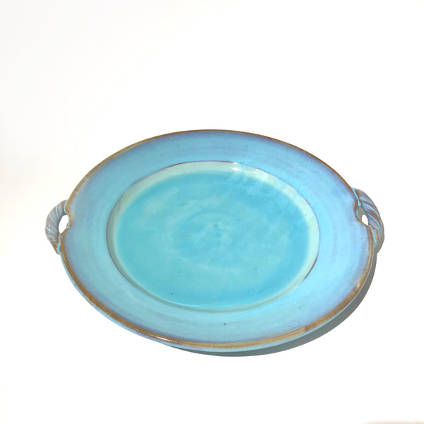Turquoise Large Serving Platter with Handles