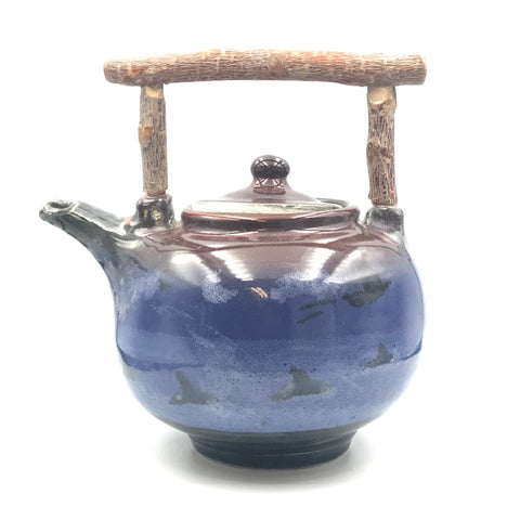 Crow and Orca Design Tea Pot with Bark Handle
