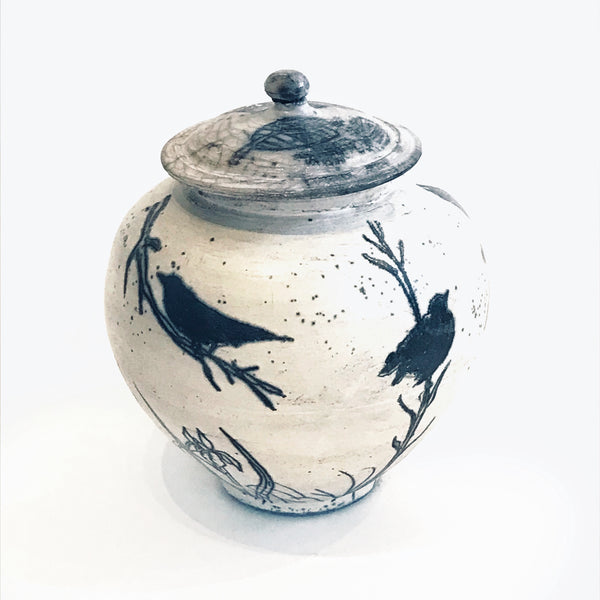 Raku Lidded Jar with Crow on Branches