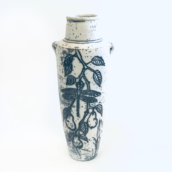 Dragonfly Design Tall Raku Vase