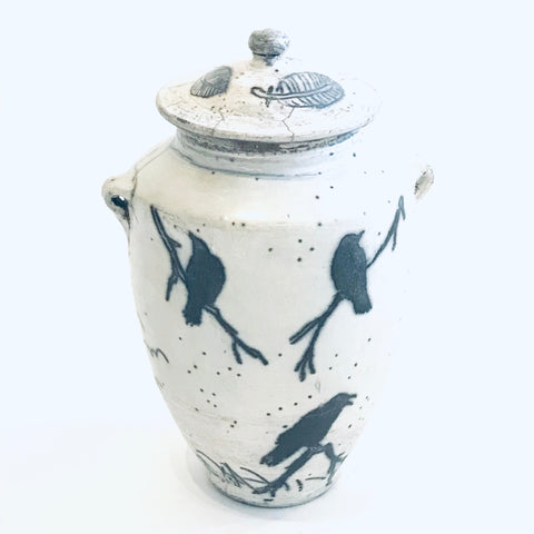 Raven Design Raku Lidded Vase/Pot