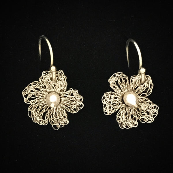 Apple Blossom Eco Silver Lace Earrings