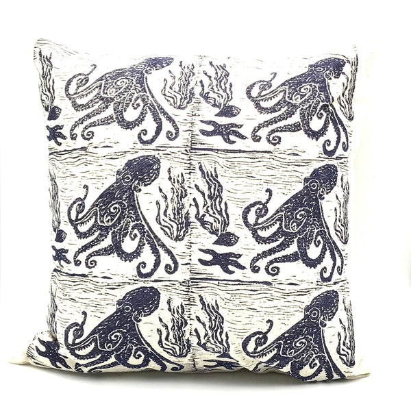 Pillow with Blue Octopus Print Design