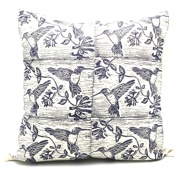 Pillow with Blue Hummingbird Print Design