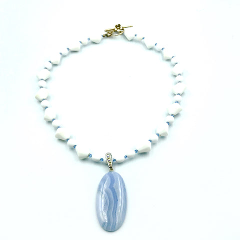 Blue Lace Agate Large Oval Bead Necklace