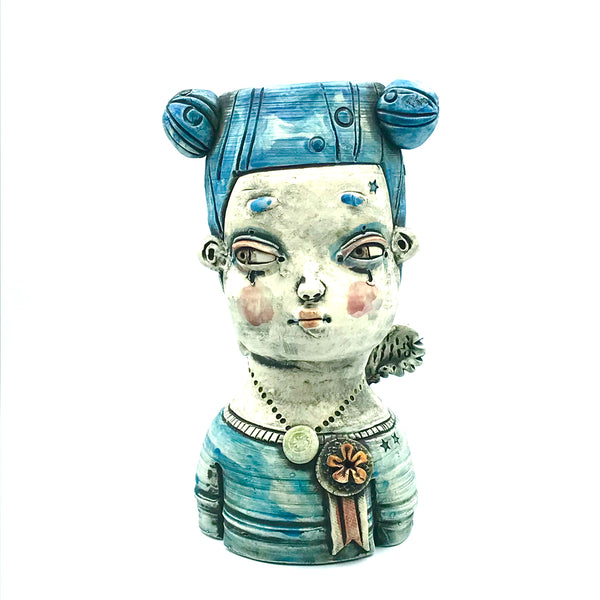 Porcelain Container Vase - Girl with Blue Hair