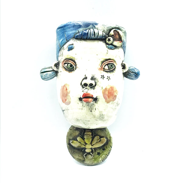 Porcelain Hanging Container - Girl with Blue Hair and Bee Charm