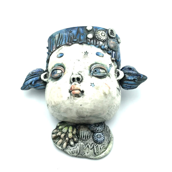 Porcelain Hanging Container - Girl with Blue Hair and Shell Charm