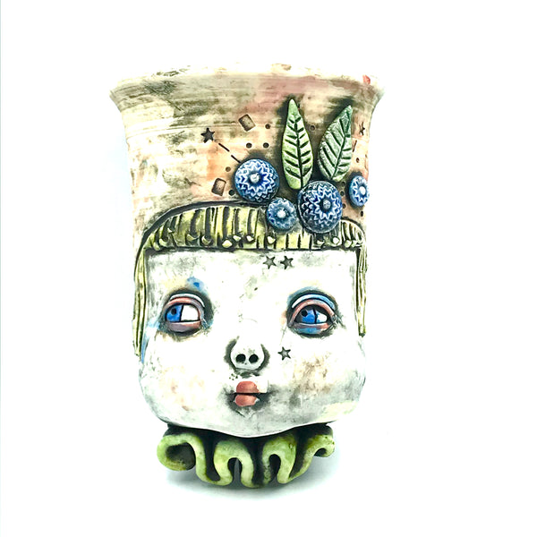 Porcelain Hanging Container - Girl with Peach Hair and Blue Flowers