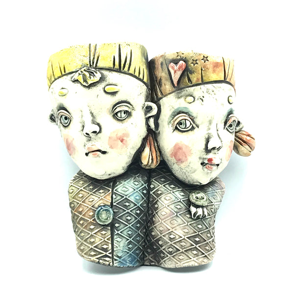 Porcelain Hanging Container - Boy and Girl Together