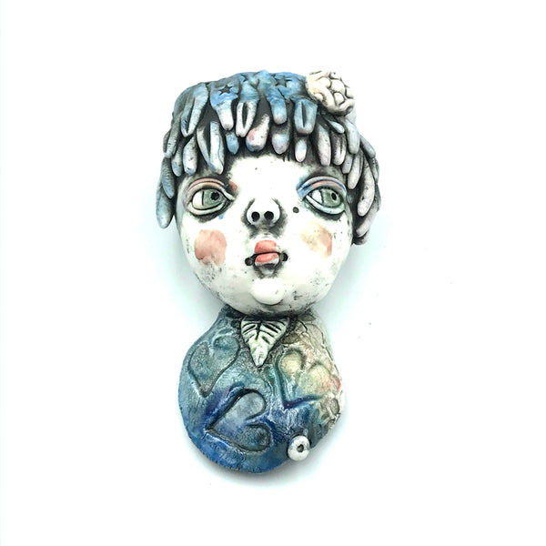 Porcelain Hanging Container - Girl with Blue Hair with Heart Charm