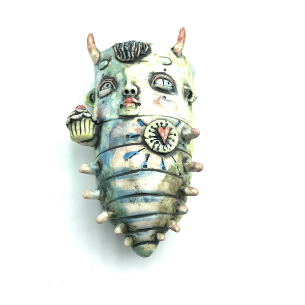 Porcelain Hanging Container - Monster with Horns and Cupcakes