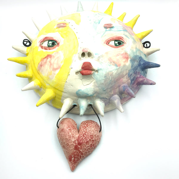 Porcelain Hanging Sun with Heart Accent