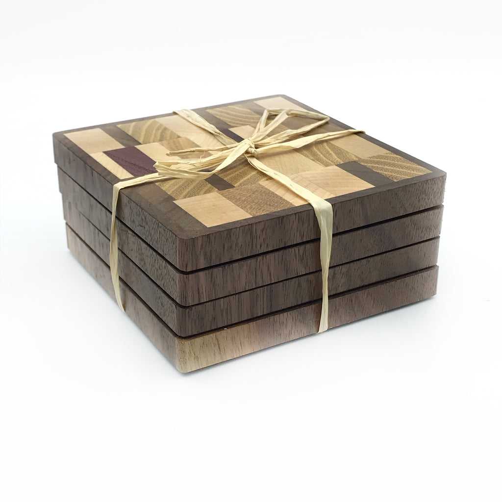 End Grain Wooden Coasters, Set of 4