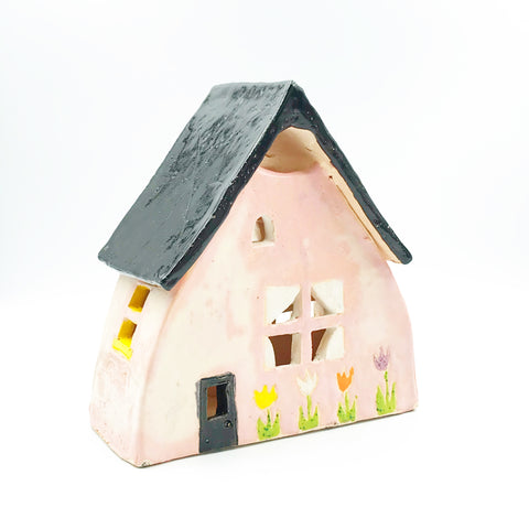 Ceramic House Lantern in Pink with Tulip Flowers