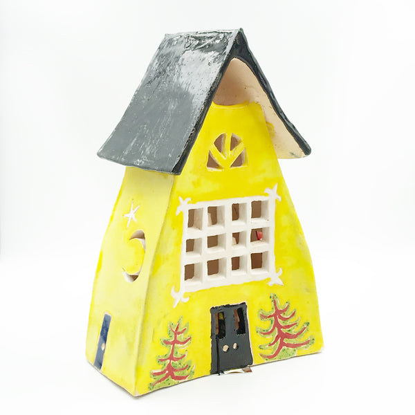 Ceramic House Lantern in Yellow with Cherry Blossom Tree