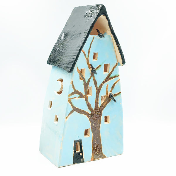 Ceramic House Lantern in Light Blue with Tree and Crow