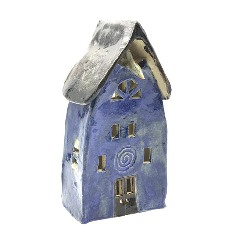 Ceramic House Lantern in Dark Blue with Light Tree and Cat
